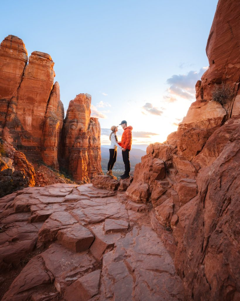 How To Take Stunning Travel Photos as a Couple - Renee Roaming - Sedona Cathedral Rock