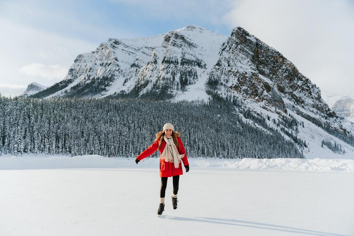 9 Best Winter Adventures in Banff Canadia - Ice Skating Lake Louise Renee Roaming