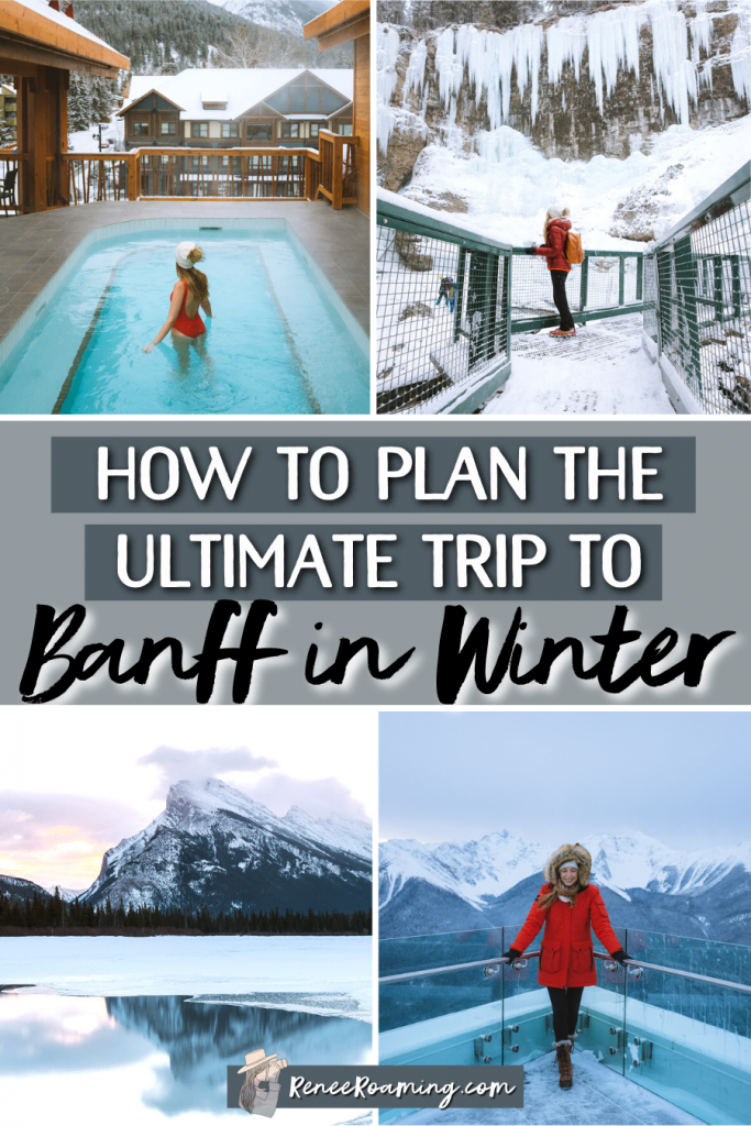 This is the ultimate guide to visiting Banff in winter! I'm sharing the best things to do in Banff during winter, where to stay, places to eat, what to pack, and more!   Plan a winter trip to Banff Canada   Banff winter things to do   Banff accommodation   Banff where to stay   Banff what to pack   Banff travel guide   Canada winter vacation   Alberta winter vacation   Canadian Rockies winter  