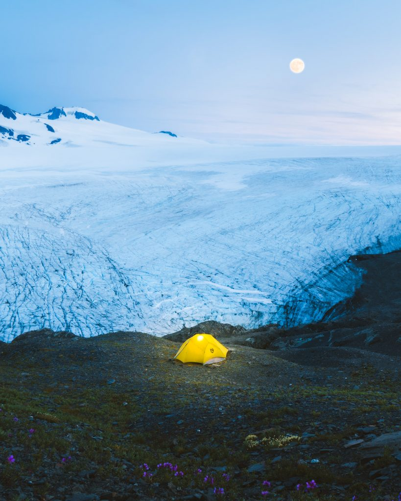 The Ultimate Guide to Exploring Kenai Fjords National Park - Camping Harding Icefield Full Moon