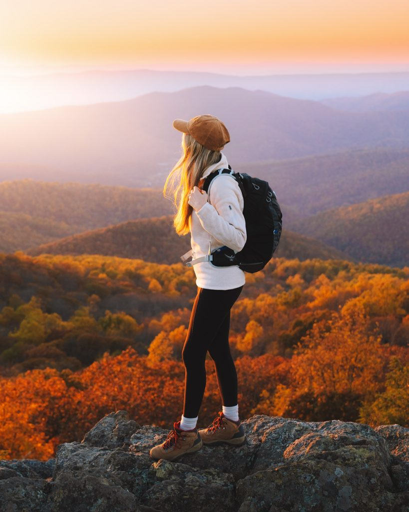Fall women's hiking outfit