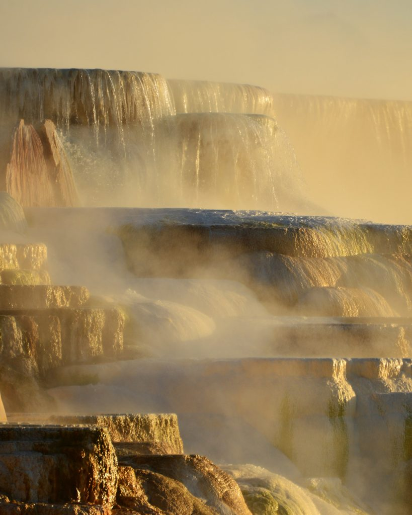 Ultimate Yellowstone National Park Guide and Itinerary- Mammoth Hot Springs Terrace Sunrise