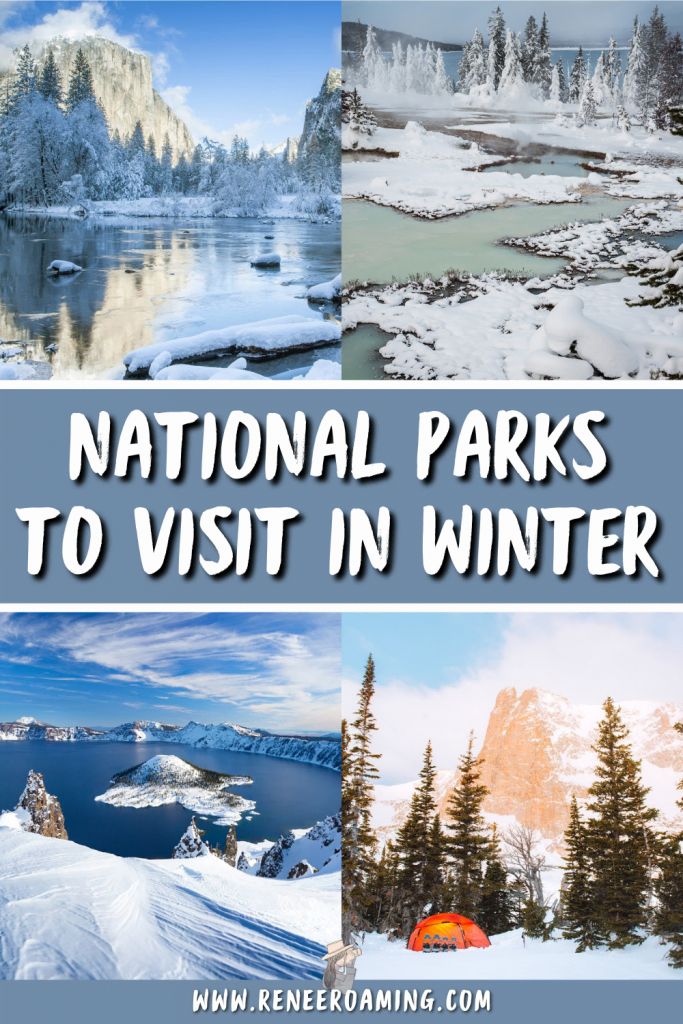 Winter is a great time to visit national parks! Not only are they less busy, but they are often even more magical when dusted with snow. In this blog post I am sharing the 12 best national parks to visit in winter. Some of them are snowy wonderlands and others are incredible choices for their sunshine and optimal weather. | USA National Parks winter | Winter travel inspiration | Winter trip planning | USA winter travel | winter parks road trip | #nationalparks