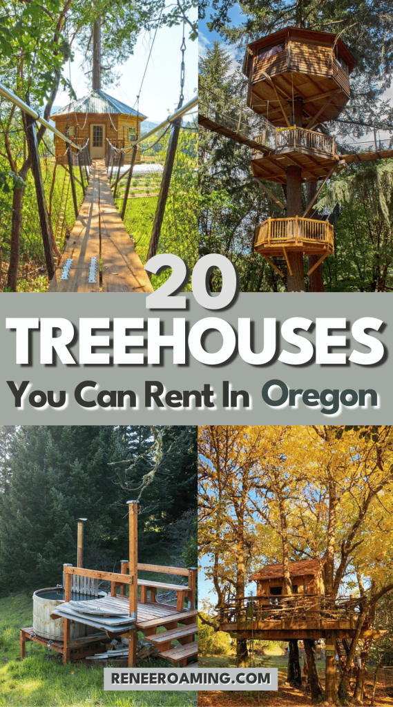 If you spent hours daydreaming as a kid about living in a treehouse, you were not alone! You might just be surprised at how different the treehouses you can rent in Oregon can be. From treehouses with ocean views to those in the city, and EVEN treehouse communities, bring your childhood dreams to life by booking a stay at one of these 20 Oregon treehouses! | Best treehouses in Oregon | Pacific Northwest treehouses | Oregon cabins | #Oregon #Treehouse #Cabin