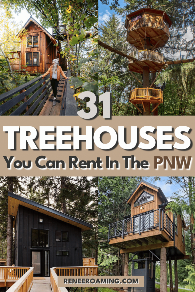 Who doesn't love a cozy weekend getaway?! I've rounded up the ultimate list of treehouses you can rent in the Pacific Northwest so that you can plan the perfect escape. This list of Pacific Northwest treehouses includes everything from cozy cabins with steamy outdoor hot tubs to charming treehouses straight out of storybooks. Perched high above the ground, these dreamy treehouses have views for days, and will bring your adventures to new heights! #Treehouse #PNW