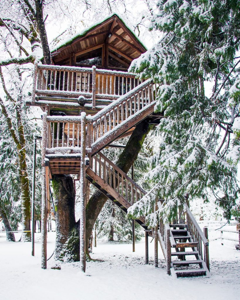 Treehouses You Can Rent In Oregon - Peacock Perch Treehouse Winter