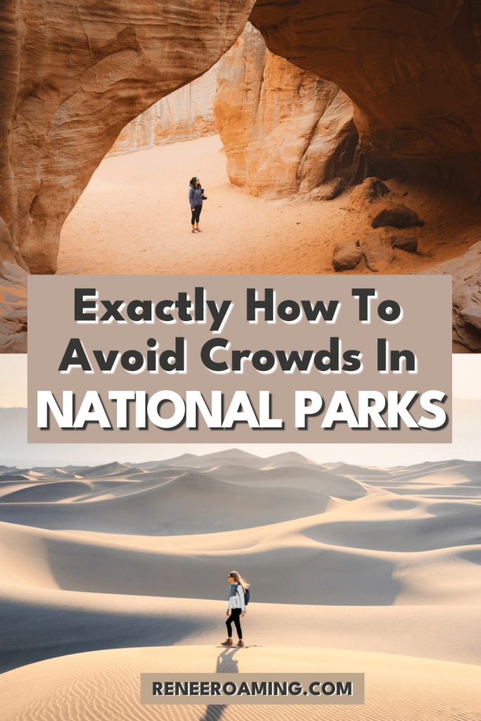 National Parks are so fun to visit but sometimes trying to avoid the crowds and planning ahead can be a bit frustrating. In this travel guide, I want to share with you the best tips on exactly how to avoid crowds in national parks, so you can make the most of your visit! | #nationalparks #usatravel #roadtrip