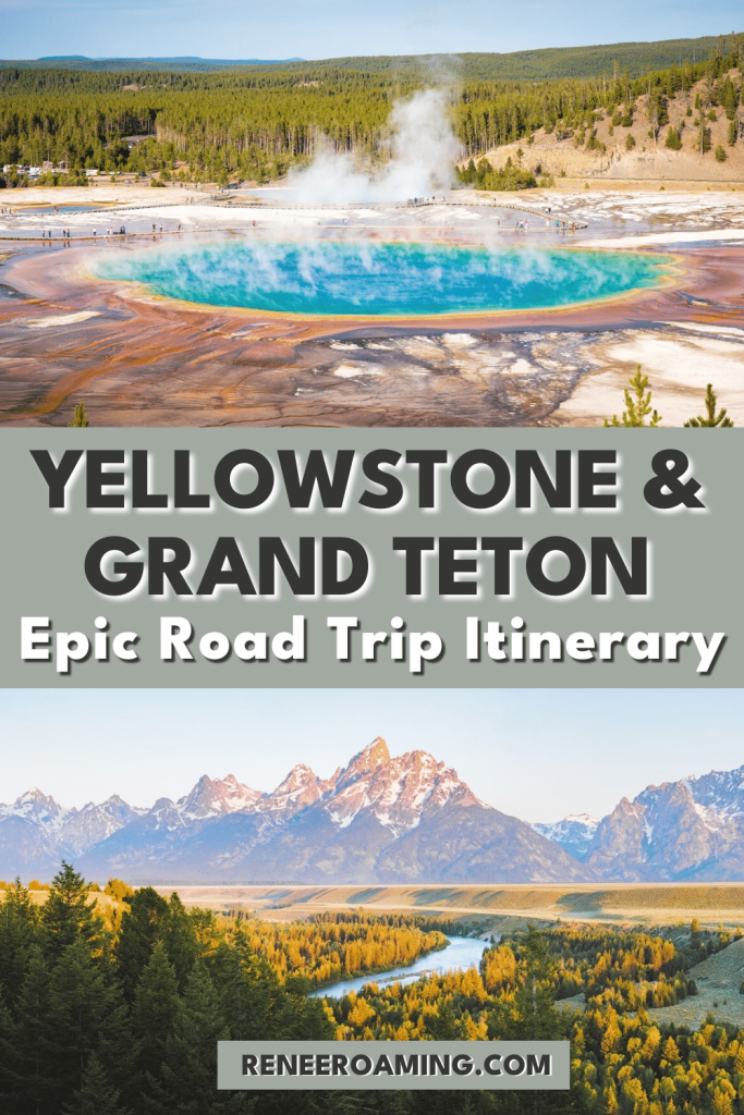 This itinerary includes my must-see locations for those taking a Yellowstone to Grand Teton road trip. These are two of my favorite national parks in the entire country, with each having its own unique reasons to visit. Yellowstone has some of the most incredible geothermal and wildlife viewing places on earth, while Grand Teton has some of the most epic mountain views you will ever see. #yellowstone #grandteton #nationalparks #roadtrip